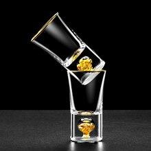 Лучшее качество 24K из золотой фольги Кристальный Саке спиртные напитки рюмка es глубина бомба коктейль миниатюрный винный бокал Sheezer крепкий напиток чашка