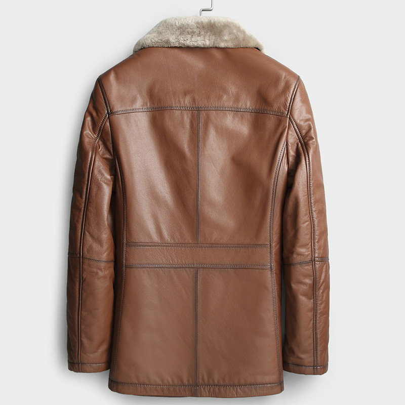 Real Genuine Leather Jacket Men Winter 100% Cow Leather Coat Natural Fur Sheep Shearling Jackets 2020 KL159006 KJ3456