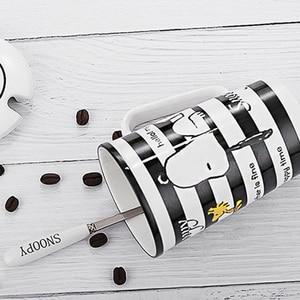 Image 3 - سنوبي 400 مللي كوب سيراميك مخطط المنزلية السيراميك القدح الكرتون نمط مكتب كوب مع ملعقة فنجان قهوة الخزف القدح لطيف هدية