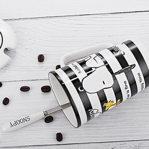 Image 3 - Snoopy 400ML Striped Ceramic Cup Household Ceramic Mug Cartoon Style Office Cup With Spoon Coffee Cup Porcelain Mug Cute Gift