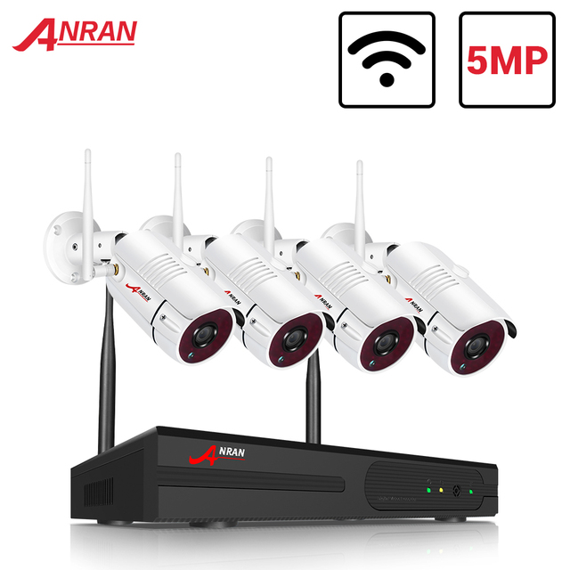 Système de caméra de sécurité sans fil ANRAN 5.0MP HD H.265 NVR Kit 4 pièces caméra IP Wifi système de caméra de vidéosurveillance