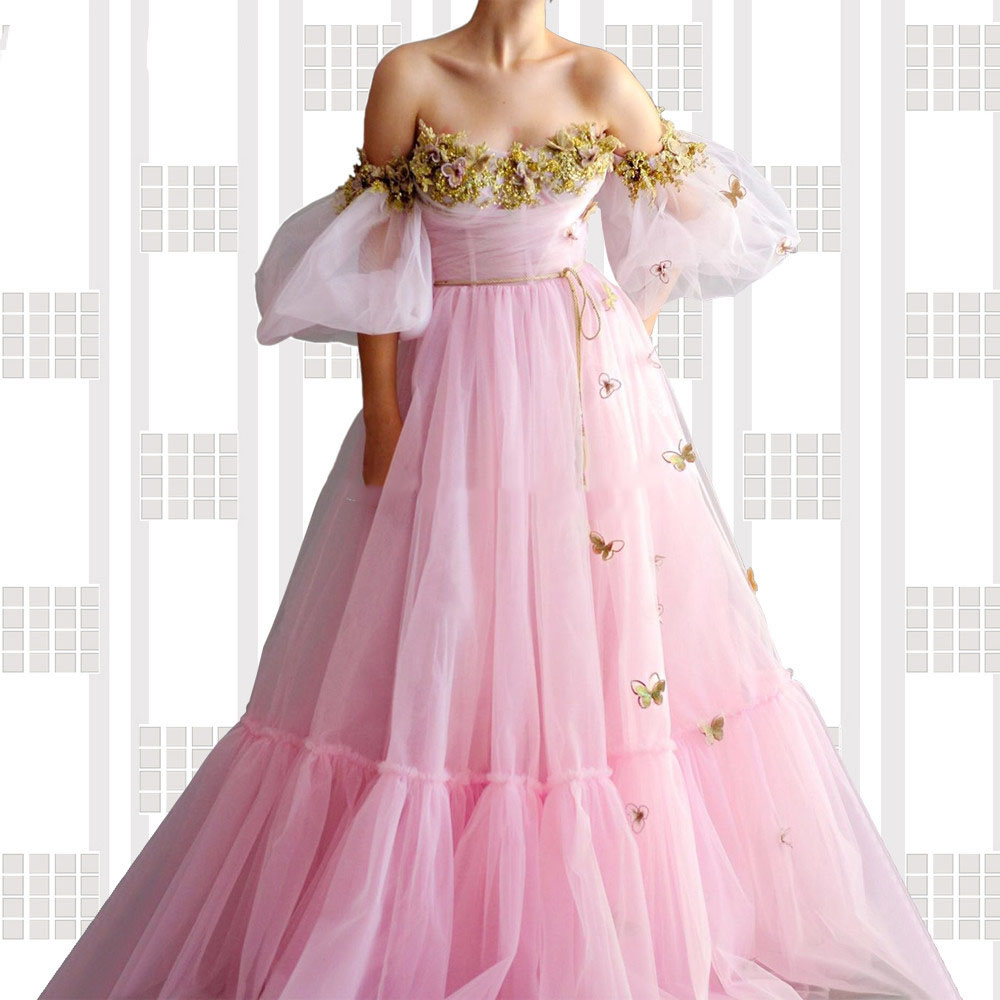 Вечернее платье с цветочной аппликацией на выпускной, розовое ТРАПЕЦИЕВИДНОЕ ПЛАТЬЕ с пышными рукавами, индивидуальный пошив, вечерние пла...