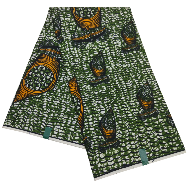 Nigerian African Polyester Print Fabric Ankara High Quality Green Dutch Wax Fabric 2019 Africain Nederlands Batik 6Yards