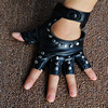 1 Pair Halloween Black Pu Leather Fingerless Gloves Female Half Finger Driving Women Fashion Punk Gloves Dance Rivets Gloves 4