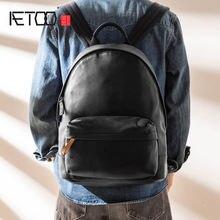 Рюкзак aetoo мужской кожаный Модный повседневный вместительный