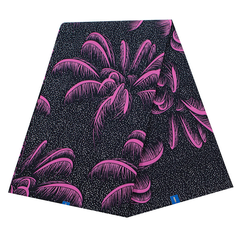 2020 Latest Arrivals African 100% Cotton Pink Coconut Tree Print Fabric Pagnes Real Dutch Wax 6Yard