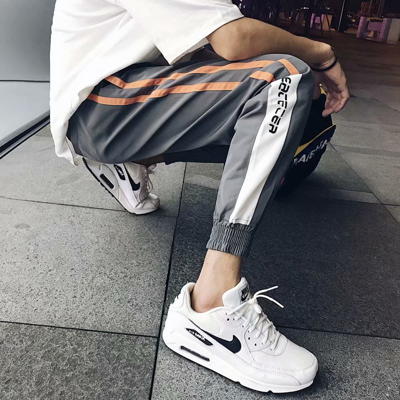 Harajuku-Style Skinny Casual Pants Male STUDENT'S Loose-Fit Korean-style Trend Summer Capri Pants INS Sports Thinner Pants