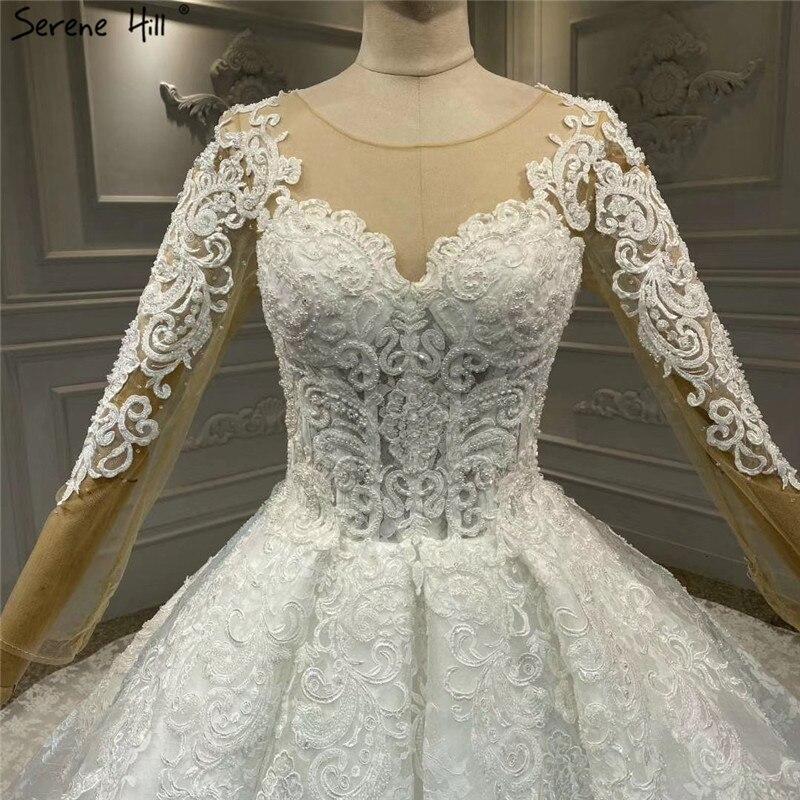Image 5 - White Luxury Vintage O Neck Zipper Wedding Dresses 2020 Long Sleeves Beading Handmade Flowers Bride Gowns HA2314 Custom MadeWedding Dresses   -