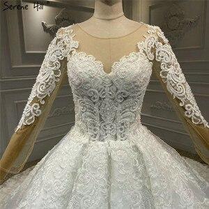 Image 5 - White Luxury Vintage O Neck Zipper Wedding Dresses 2020 Long Sleeves Beading Handmade Flowers Bride Gowns HA2314 Custom Made