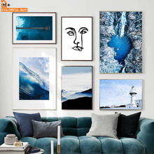 Blue Sea Bridge Lighthouse Abstract Face Nordic Posters And Prints Wall Art Canvas Painting Print Pictures For Living Room