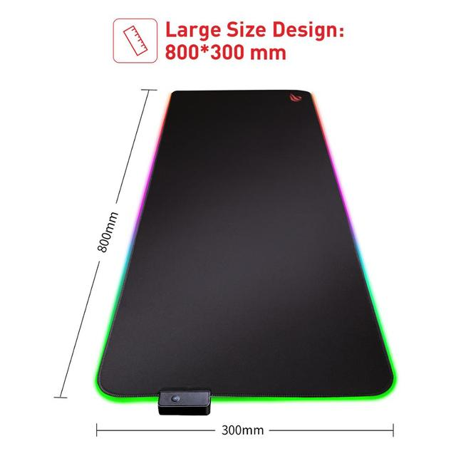 لوحة ماوس ألعاب HAVIT RGB USB LED 14 مجموعة من الأضواء لوحة مفاتيح مضيئة ممتدة بطانية غير قابلة للانزلاق بساط 350*250 و 800*300