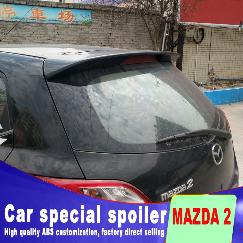 2003-2015 ABS material high quality rear window trunk <font><b>spoiler</b></font> for <font><b>Mazda</b></font> <font><b>2</b></font> <font><b>spoilers</b></font> by primer or black white paint <font><b>2</b></font> <font><b>spoiler</b></font> image