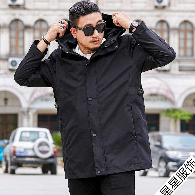 Большие размеры 8XL 6XL 5XL 4XL брендовые толстовки Тренч Мужская ветровка мужская одежда s длинное пальто черный Тренч куртка для мужчин - 4