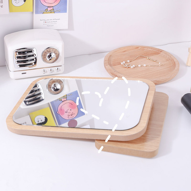 Cute Round Mirror Wooden Stand Makeup Mirror Dressing Decorative Mirrors Home Decor Bathroom Supplies Table Mirror Folding 5