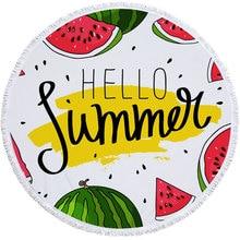 Watermelon Pattern Summer Round Beach Towel with Tassels Covers Bath Towels Picnic Yoga Mat Travel Toalla De Playa 2019