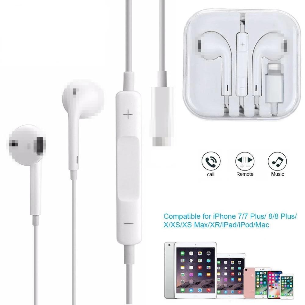Проводные наушники с разъемом Lightning для iPhone 7, 8, 8P, X, XR, XS Max, Hi-Fi стерео наушники-вкладыши с микрофоном и регулятором громкости