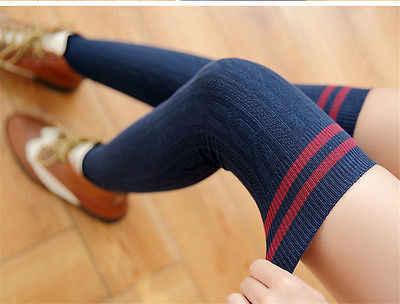2019 Musim Gugur Fashion Wanita Merajut Bergaris Kapas Atas Lutut Stoking Panjang Bergaris Paha Tinggi Baru