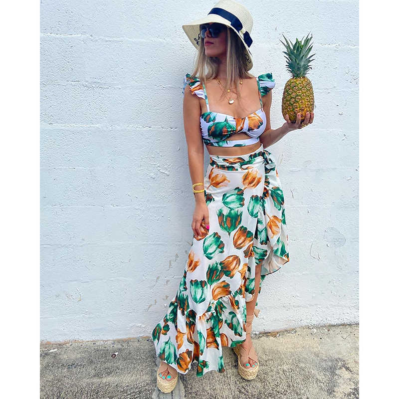 2020 Backless Tunika Strand Kleid Bikini Lange Kleid Druck Bademode Frauen Cover Up Badeanzug Bademode Pareo Saida de Praia