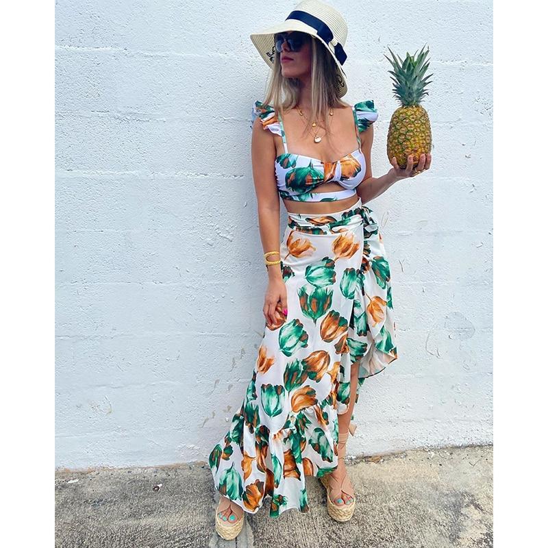 2020 Backless Tunic Beach Dress Bikini Long Dress Print Swimwear Women Cover Up Swimsuit Beachwear Pareo Saida de Praia(China)