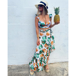 2021 Backless Tunic Beach Dress Bikini Long Dress Print Swimwear Women Cover Up Swimsuit Beachwear Pareo Saida de Praia