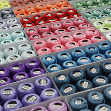 Размер 8 жемчуг Хлопок нитки для вязания двойная Мерсеризация длинный штапель Египетский хлопок DMC цвета доступны 10 коробка с шариками 43 ярдов