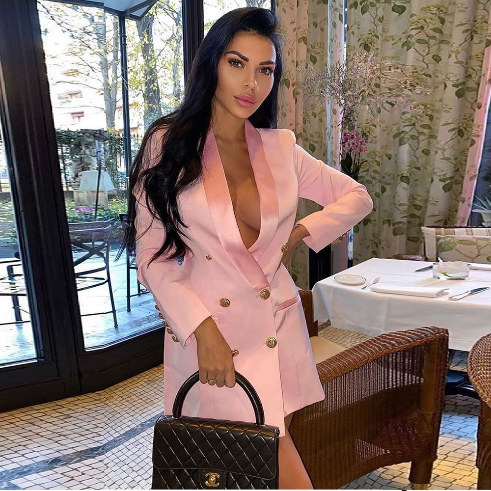2019 New Women Fashion Winter Pink White Black Christmas Jackets Button Long Sleeve V Neck Sexy Coats Club Casual Wholesale