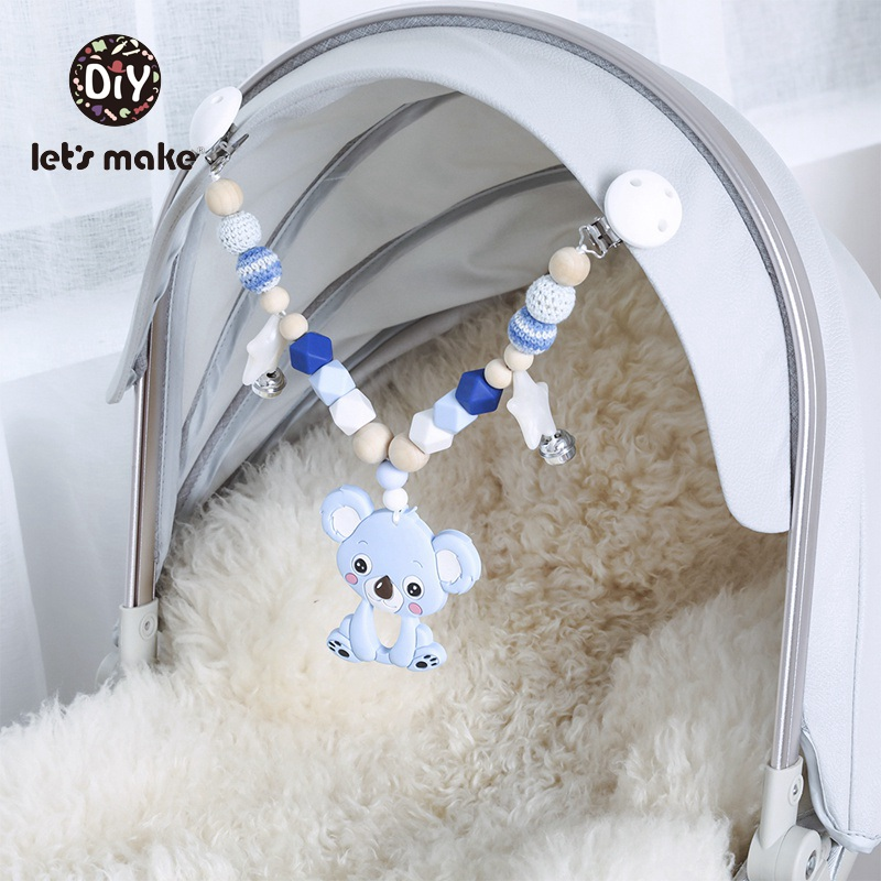 Let's Make Baby Toys Bed Bell Educational Toys For Children Silicone Teether 1PC Panda Swan Koala Cart Chain Mobile On The Bed
