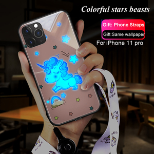 Image 5 - Pink Woman Stars Love girl Luminous Tempered Glass Phone Case + Glass Film For iPhone 11 Pro Max XS max XR XS X unicorn Cover