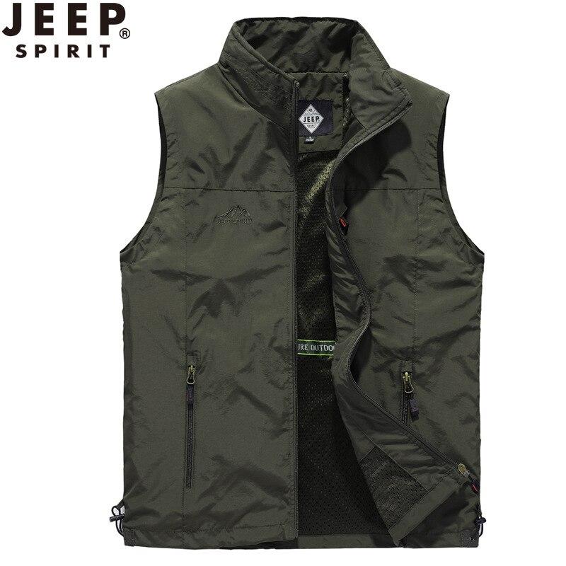 JEEP SPIRIT Vests For Men's Vest Mesh Summer Gilet Homme Hiking Outdoor Fishing Mens Vest Weste Chalecos Para Hombre Size M-4XL