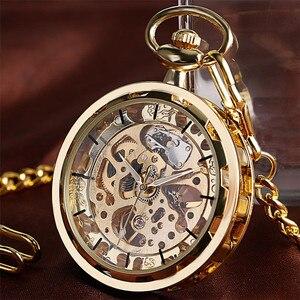 Image 1 - Механические карманные часы скелетоны, прозрачные винтажные наручные часы с открытым лицом, с карманной цепочкой, подарок на день рождения
