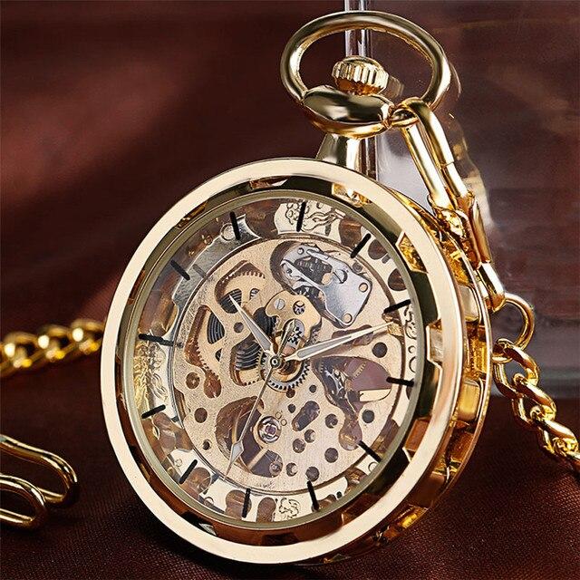Механические карманные часы скелетоны, прозрачные винтажные наручные часы с открытым лицом, с карманной цепочкой, подарок на день рождения