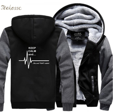 Keep Calm And...Not That Ekg Heart Rate Hoodie Men Funny Sweatshirts Winter Thick Hoodies Jacket Coat Casual Male Sportwear