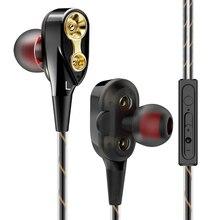 3.5mm Bass Earphones Hands Free Headphones Dual Driver With Microphone