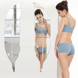 3 maten Veren Acryl Spiegel Sticker Home Decoratie Zelfklevende Spiegel Voor Woonkamer DIY 3D Thuis Decal Muurschilderingen muur Inrichting