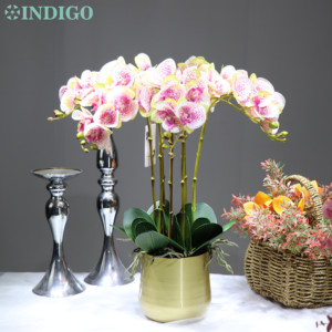 Indigo-(1 conjunto com pote) diy arranjo de flores ásia orquídeas real toque mesa de casamento peça central festa flor evento interior guarnição