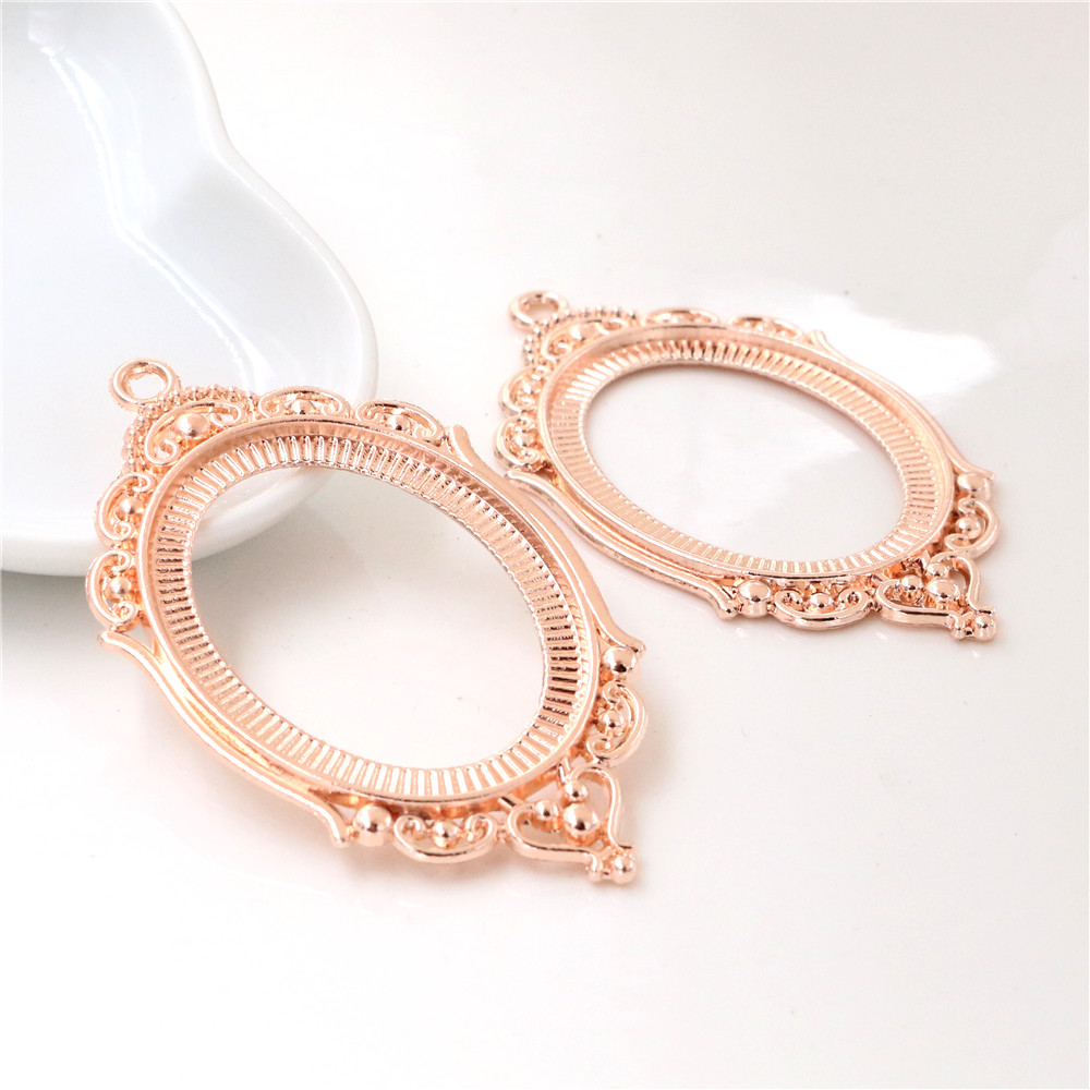 New Fashion 5pcs 30x40mm Inner Size Rose Gold Color Simple Style Cabochon Base Setting Charms Pendant (B3-08)