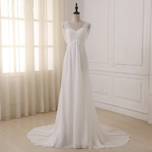 ADLN In Stock White/ Ivory Beach Wedding Dress Cap Sleeve Beaded Applique Sequin A line Empire Bridal Gowns Zipper Back