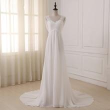 Jiayigong vestido De novia Blanco/marfil con manga casquillo, aplique De lentejuelas con cuentas, línea A, Empire