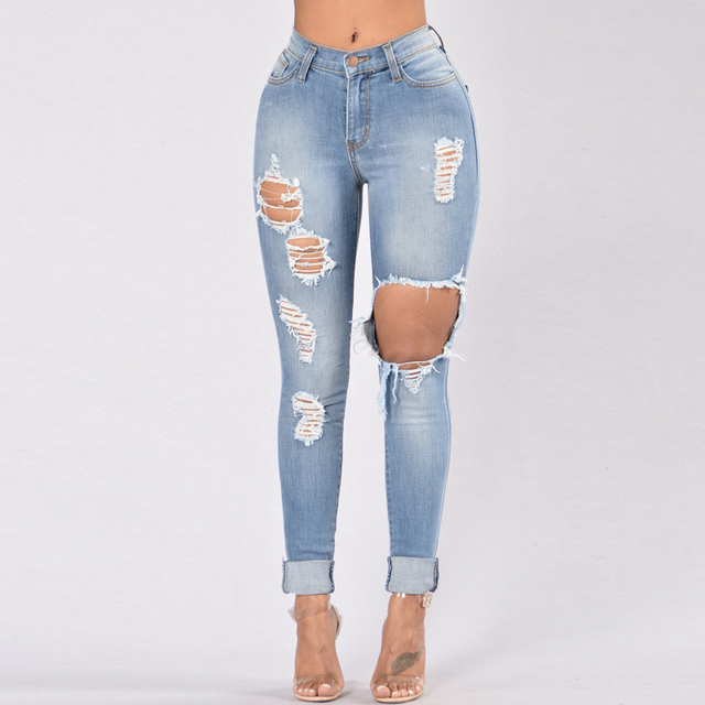 Hole Jeans Woman 2020 Stretch Denim Trousers High Waist Skinny Pencil Pants Slim Distressed Jeggings Femme Black Blue Army-Green 2