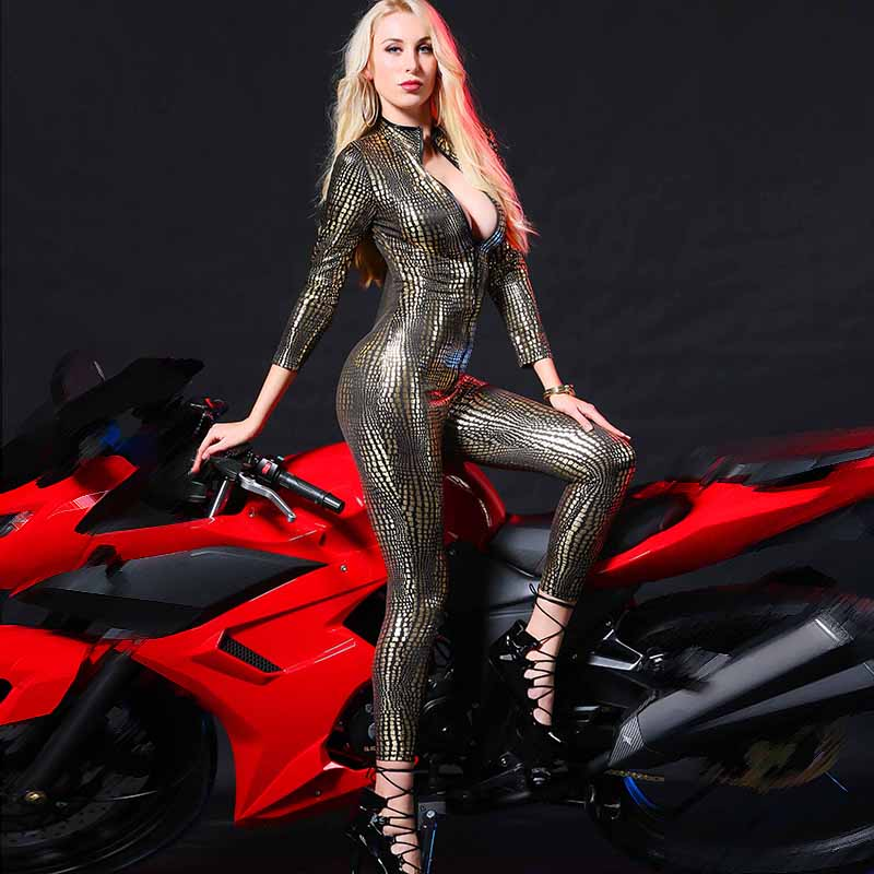Ladies Jumpsuit Women Bodysuit Casual Snake Print Romper Bodycon Overall Leather Zipper Printing Tight Rompers Womens Jumpsuit
