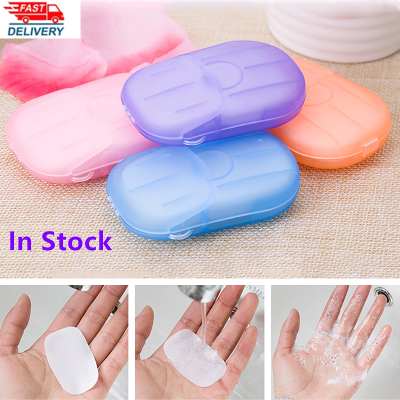 Disposable Boxed Fragrance Clean Soap Box 20pcs / Box Mini Hand-washing Bath Soap Paper Portable Travel Mini Slice Foaming Soap