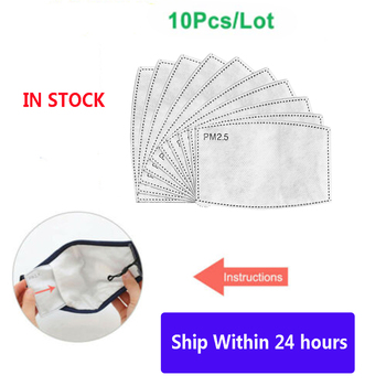 10pcs/set PM2.5 5layer replaceable filter anti-fog mask activated carbon filter for non-woven kids Anti Dust Anti-fog Breathable