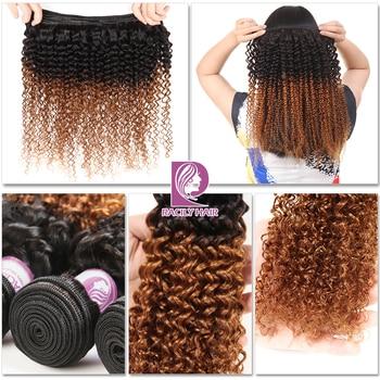 Racily Hair 1/3/4 Pcs Ombre Hair Bundles Brazilian Kinky Curly Hair Weave Bundles Deals Remy T1B/30 Ombre Human Hair Extensions 3