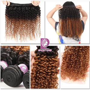 Image 3 - Racily Hair Ombre Hair Bundles Brazilian Kinky Curly Hair Weave Bundles Remy T1B/30 Brown Burgundy Ombre Human Hair Extensions