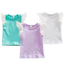 Muababy 0-5t bebê meninas voando mangas algodão camisa do laço crianças listrado macio colete infantil regata t roupas de verão t428