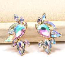 Wholesale Colorful Crystals Dangle Drop Earrings Fine  Jewelry Accessories ZA New Pendientes Bijoux For Women Christmas Gift