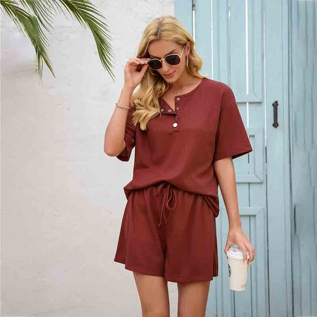 Summer Women's Suit Two Pieces Tracksuit Short Sleeve Sports Suits Women 2021 Casual Tracksuits Elastic Waist Lady Set 4