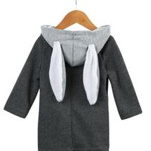 Детская зимняя теплая одежда пальто с капюшоном и ушками кролика для девочки преддошкольного возраста теплая куртка Верхняя одежда ветровка От 0 до 8 лет