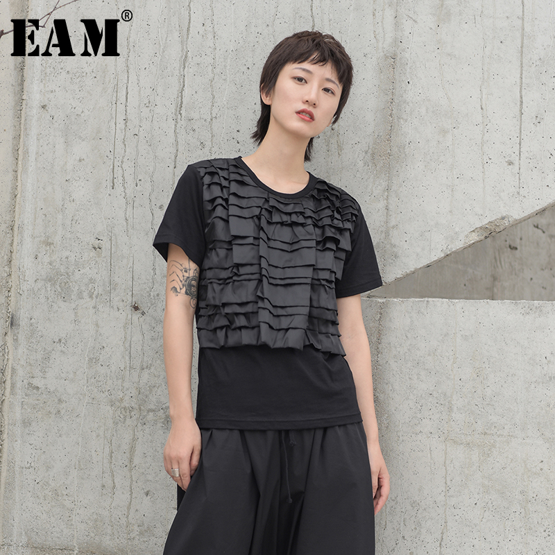 [EAM] Women Black Pleated Split Joint Temperament T-shirt New Round Neck Short Sleeve  Fashion Tide  Spring Summer 2020 JW539