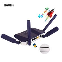 KuWFi 4G LTE CPE 무선 라우터 300Mbps 실내 무선 CPE 라우터 4Pcs 안테나 LAN 포트 Wifi 라우터 SIM 카드 슬롯